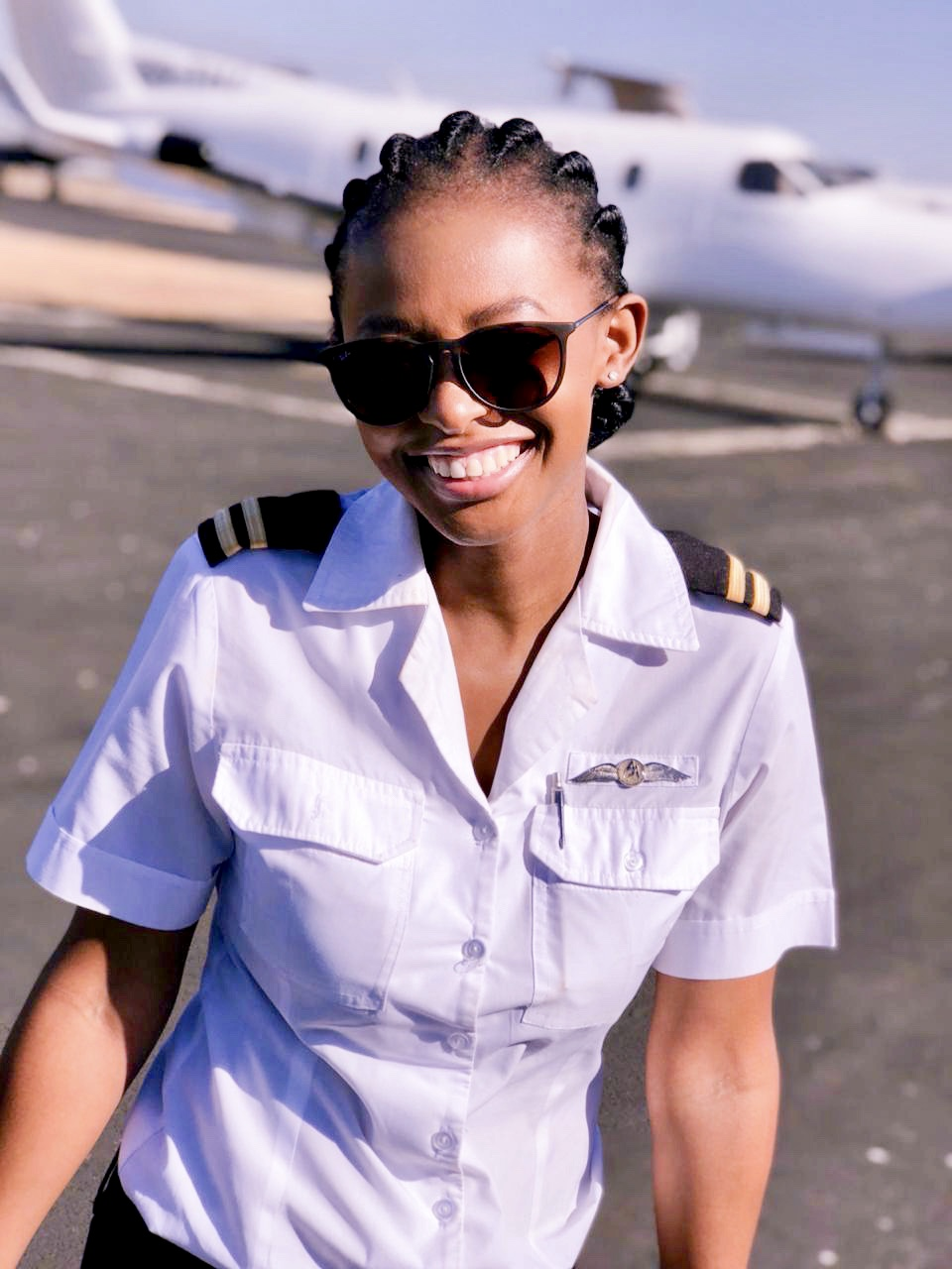 black female commercial pilot